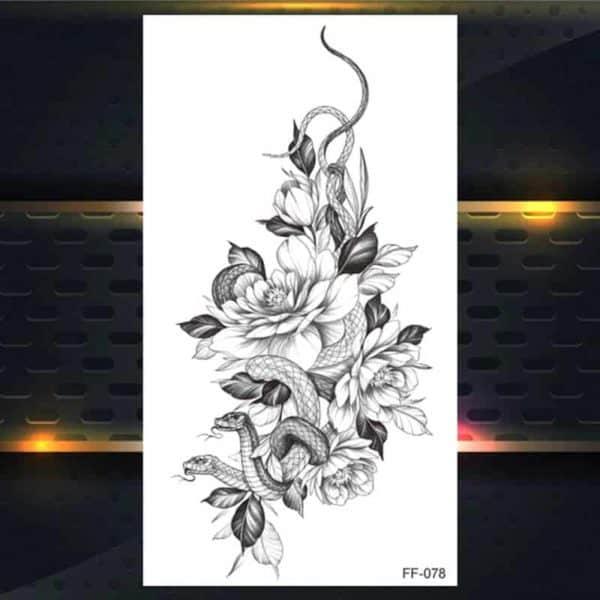 Začasni tattoo vrtnice z kačo