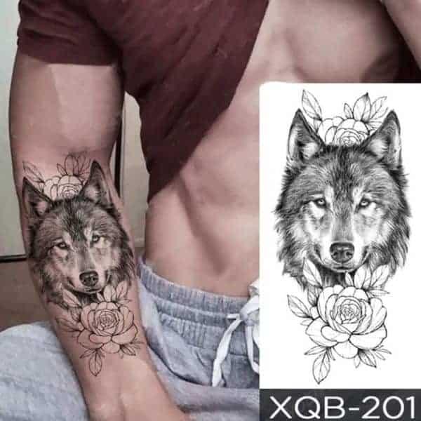 Začasni tattoo za roko volk in vrtnica