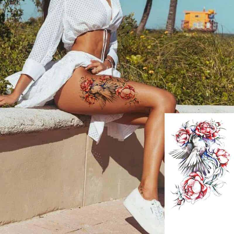 Ženski začasni tattoo barvni vrtnica in ptica
