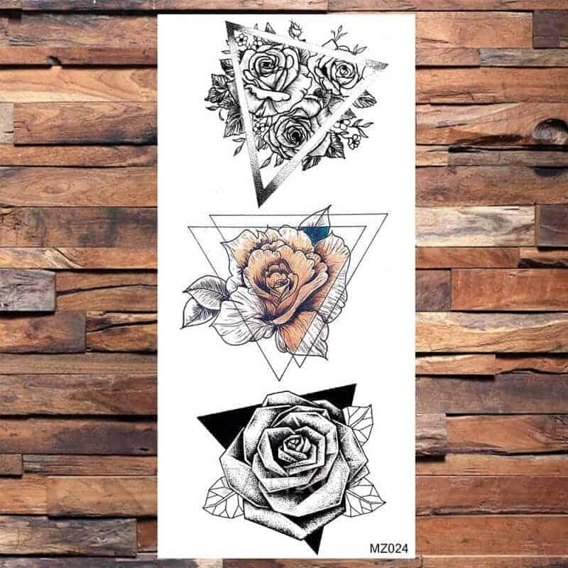 set 3 začasnih tattoojev vrtnic