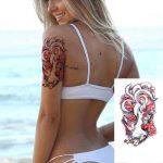 začasni tattoo lisica in cvetovi barvni