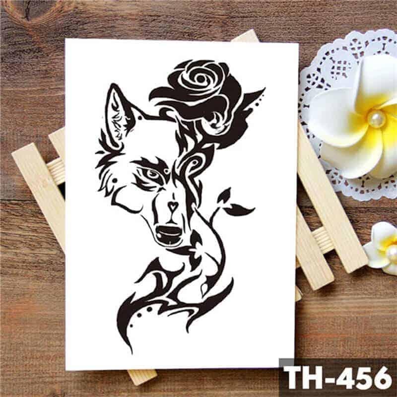 začasni tattoo lisica in vrtnica