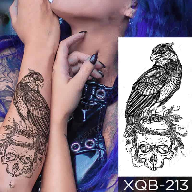 začasni tattoo orel in lobanja