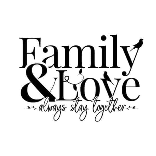 Nalepka dekorativna za steno FAMILY and love