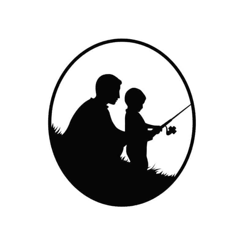 Ribiška nalepka oče in sin