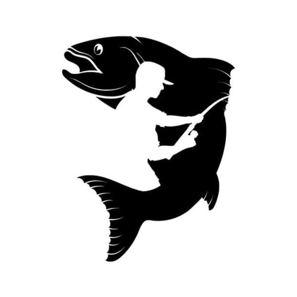 Ribiška nalepka za avto ribič in riba