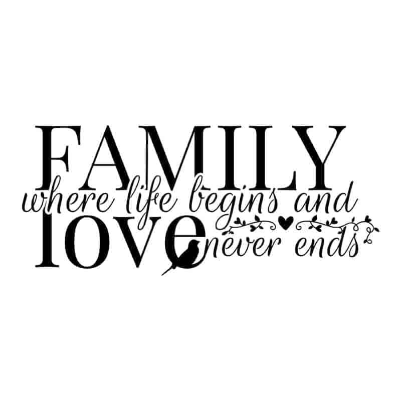 Stenska nalepka family where love begins