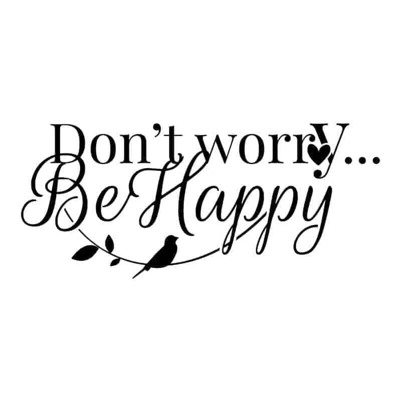 Stenska nalepka napis be happy