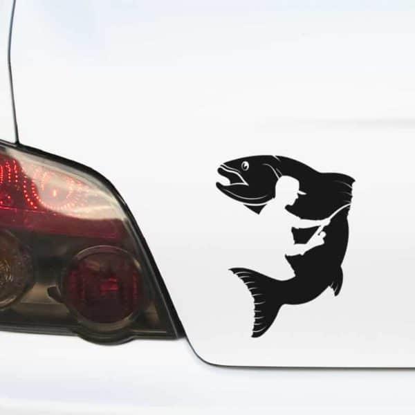 avto nalepka ribič in riba
