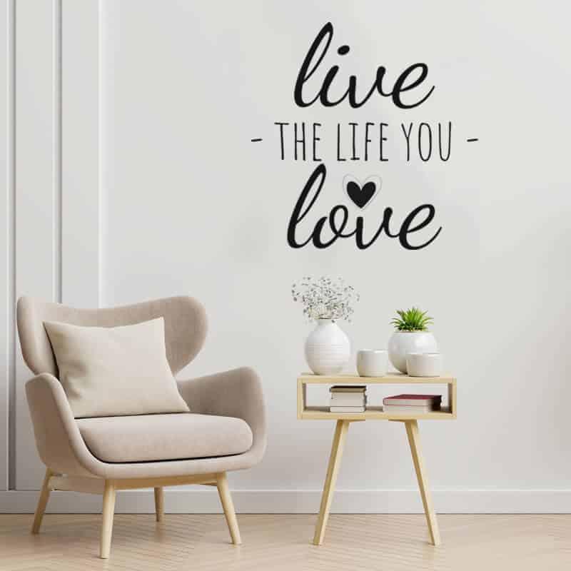nalepka za steno napis live