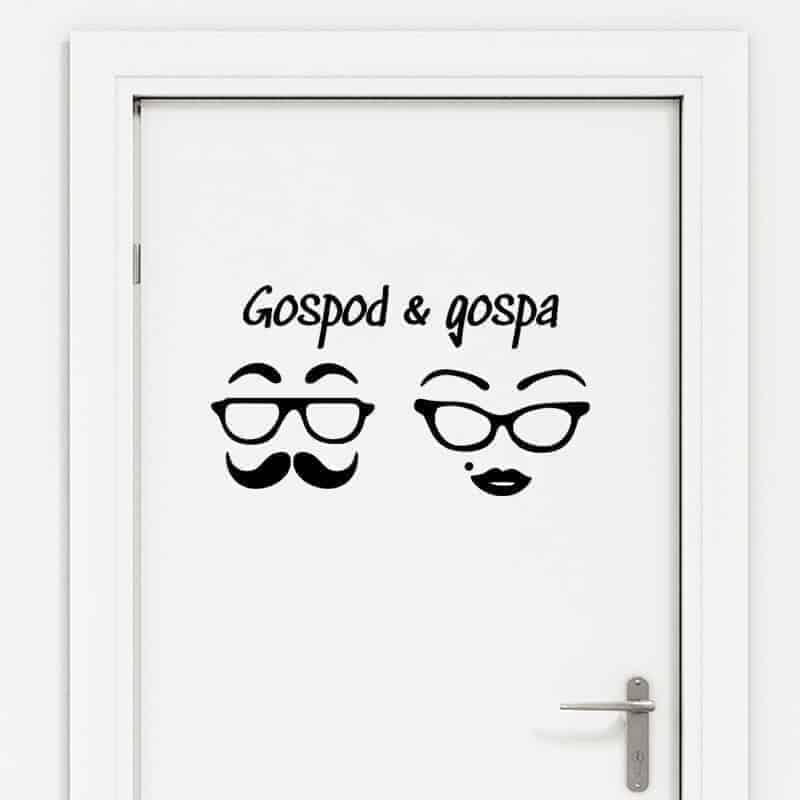 nalepka za wc vrata gospod in gospa