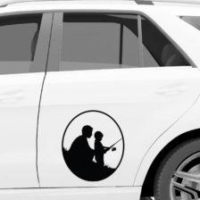 oče in sin nalepka za avto