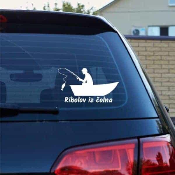ribiška nalepka za avto lov iz čolna