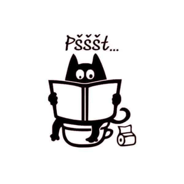 smešni napisi za wc pokrov mačka bere časopis