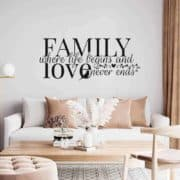 stenske nalepka napis family where love begins and never ends