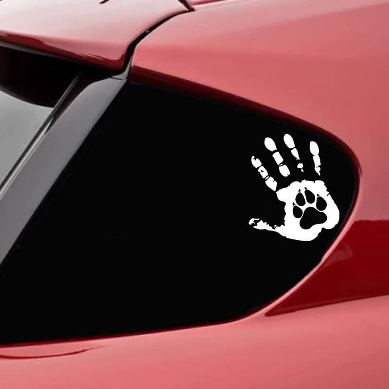 nalepka za avto odtis roke z taćko psa
