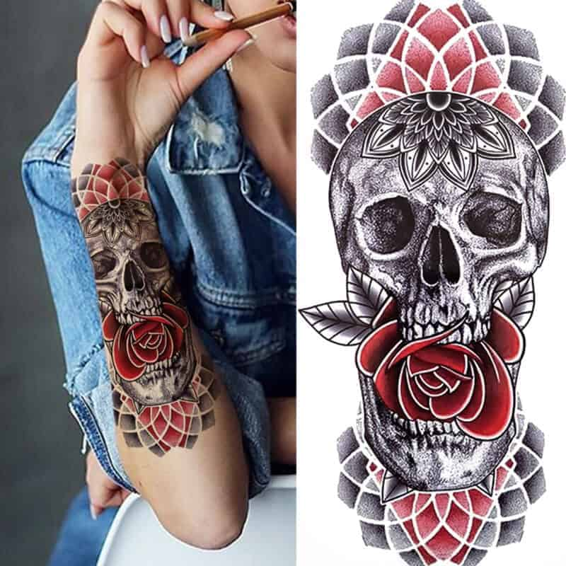 Lobanja začasni barvni tattoo 1