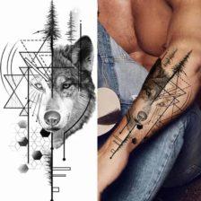 Začasni tattoo geometrijski volk