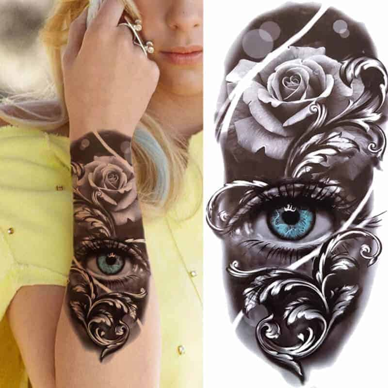 Začasni tattoo spiritualno oko z vrtnico