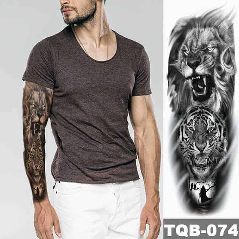 Začasni tattoo za celo roko lev in tiger