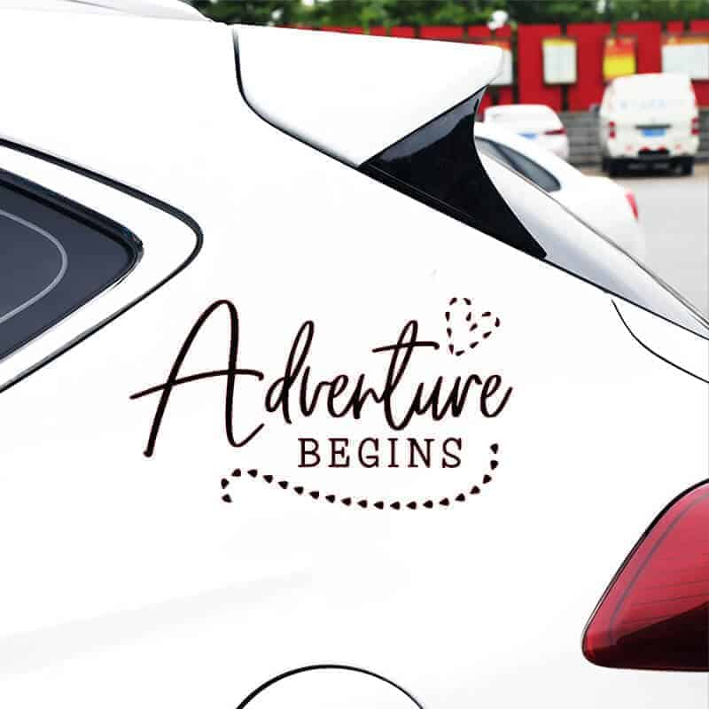adventure begins avto kamp nalepka