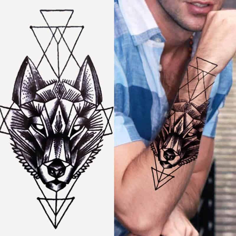 Začasne tetovaže geometrijski volk 1