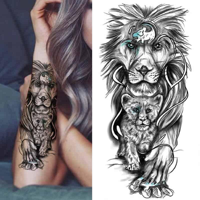 začasni tattoo Lev protektor svoje družine