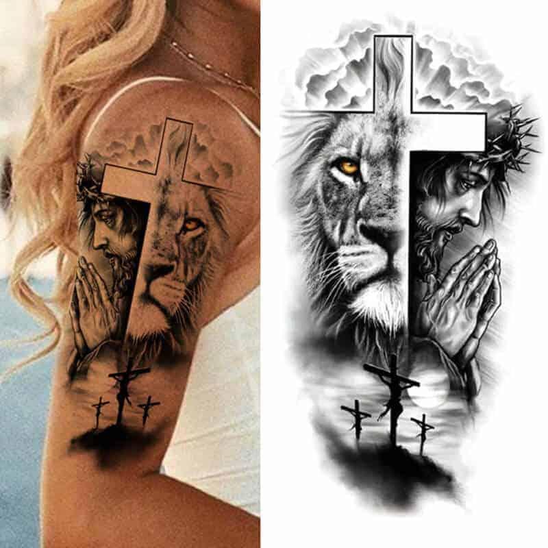 začasni tattoo križ in lev