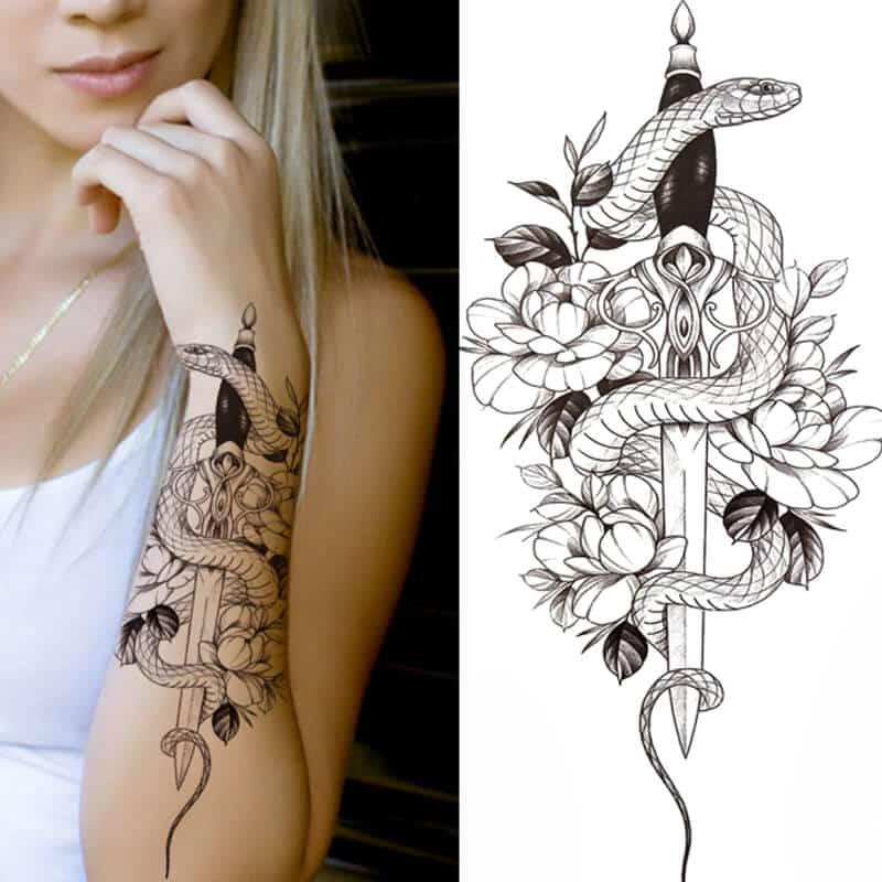 začasni tattoo meč in kača