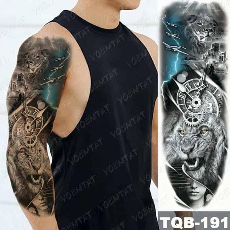začasni tattoo sleeve lev in mogočna zgodovina