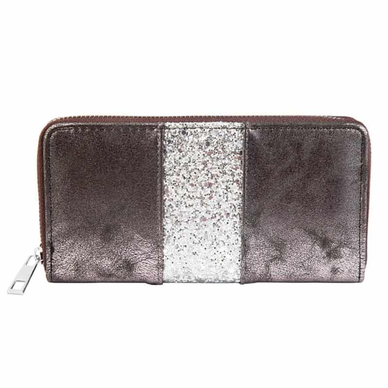 Ženska denarnica z srebrnimi bleščicami