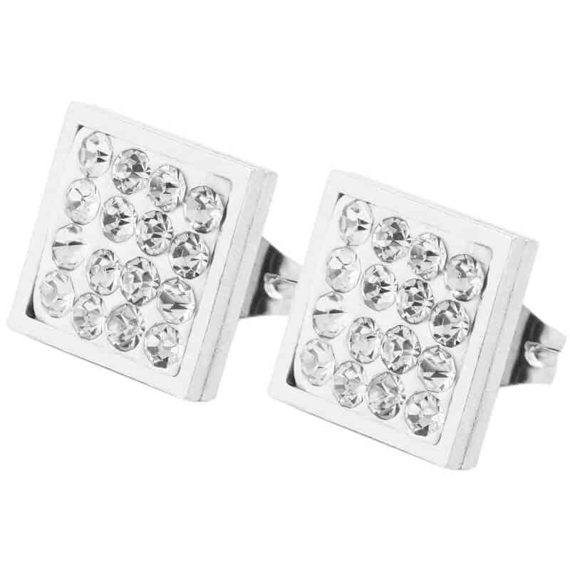 srebrni diamantni uhani