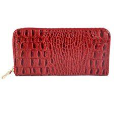 Ženska denarnica Krokodilski vzorec rdeča barva