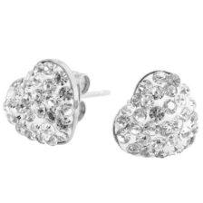 srebrni uhani srce z diamanti