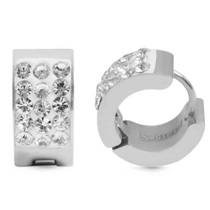 uhani srebrne barve z diamanti okrogli
